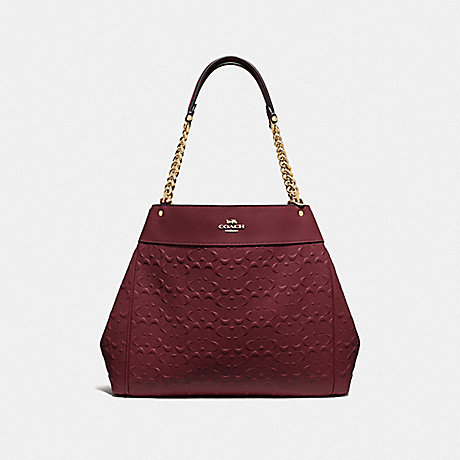 COACH LEXY CHAIN SHOULDER BAG IN SIGNATURE LEATHER - WINE/IMITATION GOLD - F49336