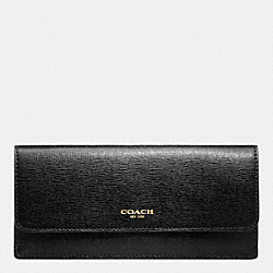 COACH SOFT WALLET IN SAFFIANO LEATHER - BRASS/BLACK - F49350