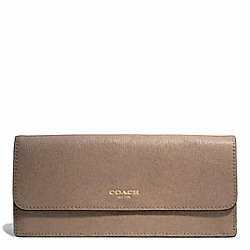 COACH SAFFIANO LEATHER SOFT WALLET - LIGHT GOLD/SILT - F49350
