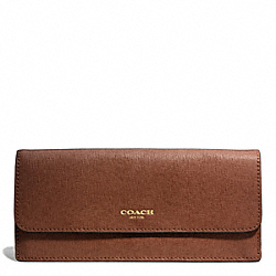 COACH SAFFIANO LEATHER SOFT WALLET - LIGHT GOLD/CHESTNUT - F49350