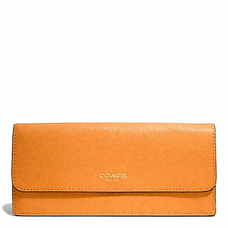 COACH SAFFIANO LEATHER SOFT WALLET - LIGHT GOLD/BRIGHT MANDARIN - f49350