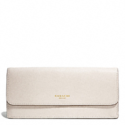 COACH SAFFIANO LEATHER SOFT WALLET - LIGHT GOLD/PARCHMENT - F49350