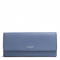 COACH SAFFIANO LEATHER SOFT WALLET - SILVER/CORNFLOWER - F49350