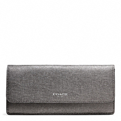 COACH SAFFIANO LEATHER NEW SOFT WALLET - SILVER/GUNMETAL - F49350