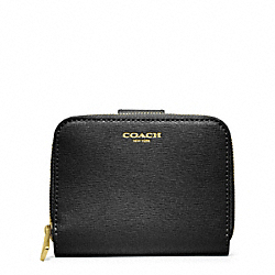 COACH SAFFIANO LEATHER MEDIUM ZIP AROUND - BRASS/BLACK - F49352