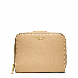 COACH SAFFIANO LEATHER MEDIUM ZIP AROUND - BRASS/CAMEL - F49352