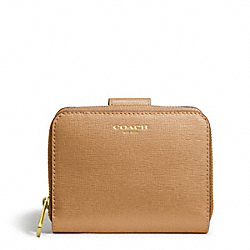 COACH SAFFIANO LEATHER MEDIUM ZIP AROUND - BRASS/TOFFEE - F49352