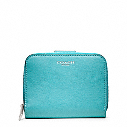 COACH SAFFIANO LEATHER MEDIUM ZIP AROUND - SILVER/ROBIN - F49352