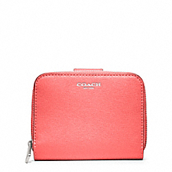 COACH SAFFIANO LEATHER MEDIUM ZIP AROUND - SILVER/CORAL - F49352