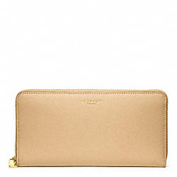 COACH SAFFIANO LEATHER ACCORDION ZIP - BRASS/CAMEL - F49355