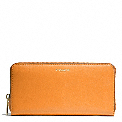 COACH SAFFIANO LEATHER ACCORDION ZIP WALLET - LIGHT GOLD/BRIGHT MANDARIN - F49355