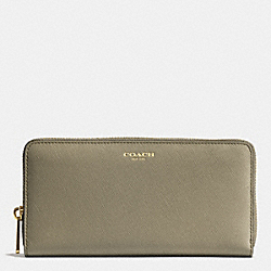 COACH SAFFIANO LEATHER ACCORDION ZIP WALLET - LIGHT GOLD/OLIVE GREY - F49355