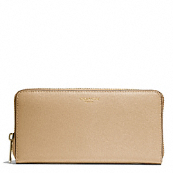 COACH SAFFIANO LEATHER ACCORDION ZIP WALLET - LIGHT GOLD/TAN - F49355