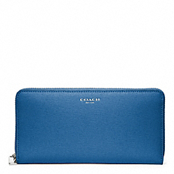 COACH SAFFIANO LEATHER ACCORDION ZIP WALLET - SILVER/COBALT - F49355