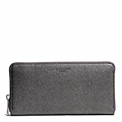 COACH SAFFIANO LEATHER ACCORDION ZIP WALLET - SILVER/GUNMETAL - F49355