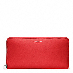 COACH SAFFIANO LEATHER ACCORDION ZIP WALLET - SILVER/VERMILLION - F49355