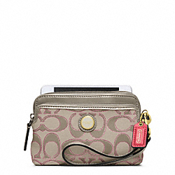 COACH POPPY SIGNATURE SATEEN METALLIC DOUBLE ZIP WRISTLET - ONE COLOR - F49360