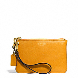 COACH SAFFIANO LEATHER SMALL WRISTLET - BRASS/MARIGOLD - F49377