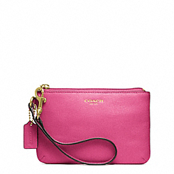 COACH SAFFIANO LEATHER SMALL WRISTLET - BRASS/PINK - F49377