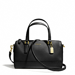 COACH MINI SATCHEL IN SAFFIANO LEATHER - BRASS/BLACK - F49392
