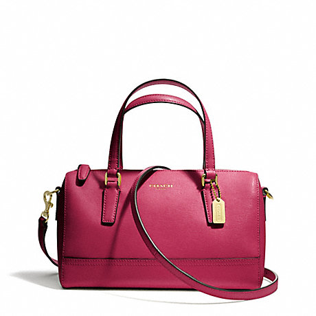 COACH f49392 SAFFIANO LEATHER MINI SATCHEL BRASS/CRANBERRY