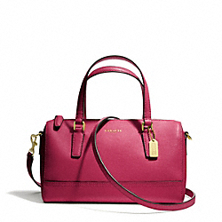 COACH SAFFIANO LEATHER MINI SATCHEL - BRASS/CRANBERRY - F49392
