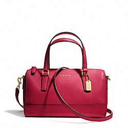 COACH SAFFIANO LEATHER MINI SATCHEL - BRASS/SCARLET - F49392