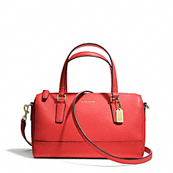 COACH SAFFIANO LEATHER MINI SATCHEL - LIGHT GOLD/LOVE RED - F49392