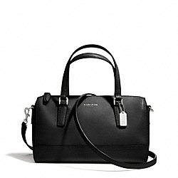 COACH SAFFIANO LEATHER MINI SATCHEL - SILVER/BLACK - F49392