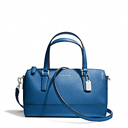 COACH SAFFIANO LEATHER MINI SATCHEL - SILVER/COBALT - F49392