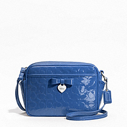 COACH EMBOSSED LIQUID GLOSS MINI CAMERA BAG - SILVER/MOONLIGHT BLUE - F49430