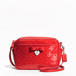 COACH EMBOSSED LIQUID GLOSS MINI CAMERA BAG - SILVER/VERMILLION - F49430