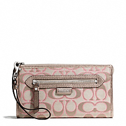 COACH DAISY OUTLINE SIGNATURE METALLIC ZIPPY WALLET - ONE COLOR - F49437