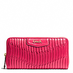 COACH ASHLEY GATHERED LEATHER ZIP AROUND - BRASS/RASPBERRY - F49444