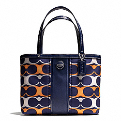 COACH SIGNATURE STRIPE LINEAR SIGNATURE TOP HANDLE TOTE - ONE COLOR - F49446
