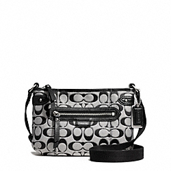 COACH DAISY OUTLINE SIGNATURE METALLIC SWINGPACK - SILVER/MOONLIGHT - F49452
