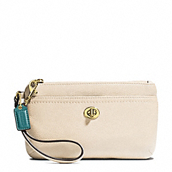 COACH PARK LEATHER MEDIUM WRISTLET - BRASS/STONE - F49472