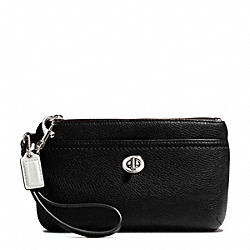 COACH PARK LEATHER MEDIUM WRISTLET - SILVER/BLACK - F49472