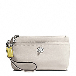 COACH PARK LEATHER MEDIUM WRISTLET - SILVER/PEARL - F49472