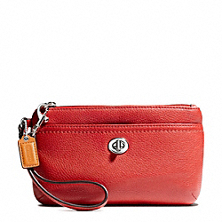 COACH PARK LEATHER MEDIUM WRISTLET - SILVER/VERMILLION - F49472