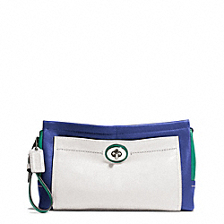 COACH PARK COLORBLOCK LEATHER LARGE CLUTCH - SILVER/FRENCH BLUE MULTI - F49473