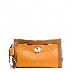 PARK COLORBLOCK LEATHER LARGE CLUTCH - f49473 - SILVER/NATURAL MULTI