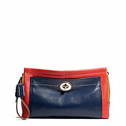 COACH PARK COLORBLOCK LEATHER LARGE CLUTCH - SILVER/VERMILLION MULTICOLOR - F49473