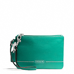 COACH PARK LEATHER SMALL WRISTLET - SILVER/BRIGHT JADE - F49475