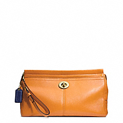 COACH PARK LEATHER LARGE CLUTCH - BRASS/ORANGE SPICE - F49481
