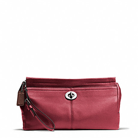 COACH PARK LEATHER LARGE CLUTCH - SILVER/BLACK CHERRY - f49481