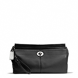 COACH PARK LEATHER LARGE CLUTCH - SILVER/BLACK - F49481