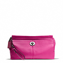 COACH PARK LEATHER LARGE CLUTCH - SILVER/BRIGHT MAGENTA - F49481