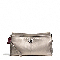 COACH PARK LEATHER LARGE CLUTCH - SILVER/PEWTER - F49481