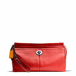 COACH PARK LEATHER LARGE CLUTCH - SILVER/VERMILLION - F49481
